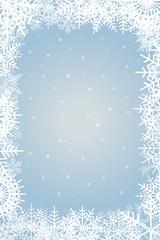 紺クリスマスイメージ ライトブルー|雪の結晶のオーナメント|雪の飾り罫