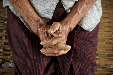 Hold one's hands of Asian Grandmother