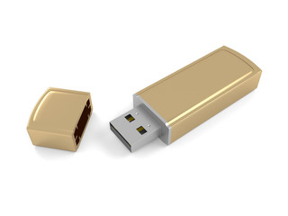 3d illustration of a gold metal flash drive on a white background.