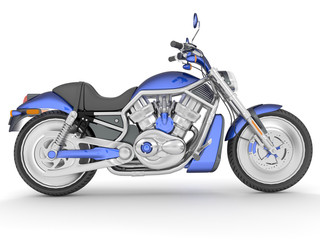 3d rendering blue black classic motorcycle isolated on white background.