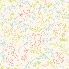Seamless pattern with spring birds and branches