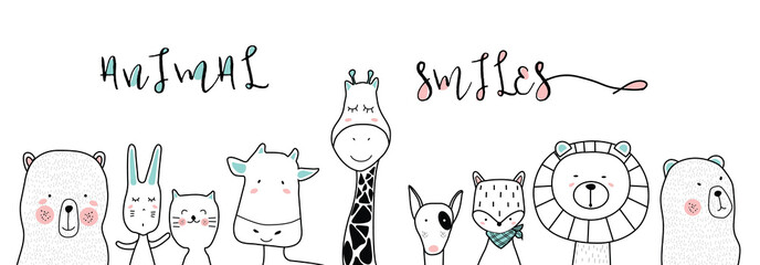 cute cartoon sketch animals for t-shirt print, textile, patch, kid product,pillow, gift.vector illustrator Wall mural