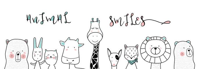 cute cartoon sketch animals for t-shirt print, textile, patch, kid product,pillow, gift.vector illustrator Fotoväggar