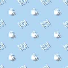 Meal Time Cup And Cutlery Seamless Pattern