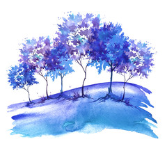 Watercolor illustration. Group of blue trees in winter, grove, garden. Landscape winter. Isolated on white background. Postcard, card, tag, logo.