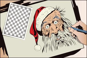 Stock illustration. Funny Santa.