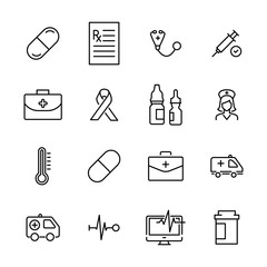 Modern outline style medical icons collection.