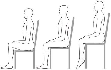 イス、椅子、座る、姿勢、ポーズ、横向き、人体、背もたれ、白バック、いす、全身、背骨、背筋、健康、腰痛、体勢、高い、低い、肩こり、座り方、負担、背中、腰、高いイス、低いイス
