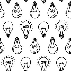 Lamp light bulb hand drawn seamless pattern design