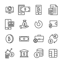 Set of finance thin line icons.