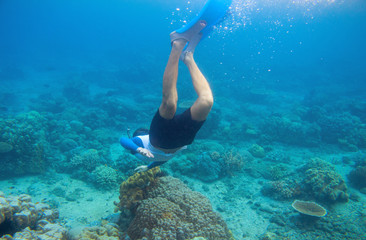 Snorkeling man dives to coral reef. Male snorkel in tropical lagoon underwater photo