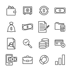 Set of banking thin line icons