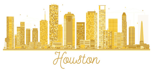 Wall Mural - Houston USA City skyline golden silhouette.