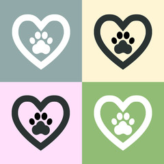 Dog paw sign icon in heart,set of icons1
