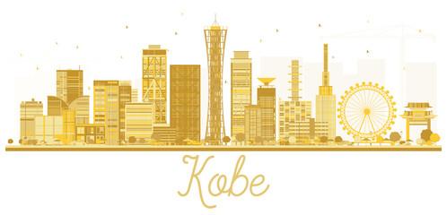 Kobe Japan City skyline golden silhouette.