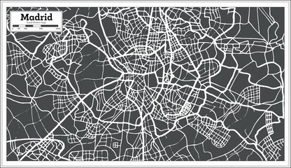 Madrid Spain Map in Retro Style.