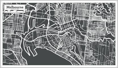 Melbourne Australia Map in Retro Style.