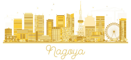 Nagoya Japan City skyline golden silhouette.