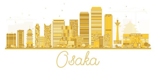Osaka Japan City skyline golden silhouette.