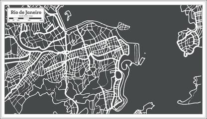 Rio de Janeiro Map in Retro Style.