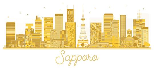 Sapporo Japan City skyline golden silhouette.