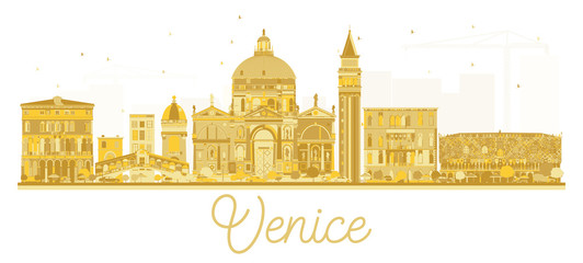 Venice Italy City skyline golden silhouette.