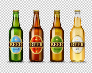 Realistic Green, brown, yellow and white glass beer bottles with with different labels isolated on transparent background. Mock up template blank for product packing advertisement.