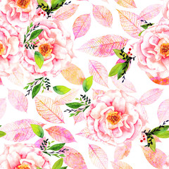 Seamless watercolor rose bud and leaf pattern with pink leaves