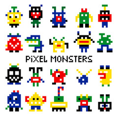 Colored pixelated retro space monsters