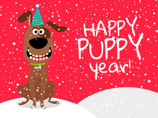 Dog new year flyer with snow