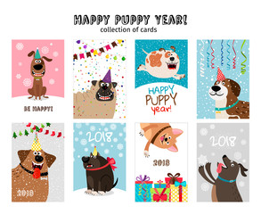 Happy new year, puppy cards