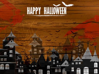 Scary haunted Halloween greeting holiday background