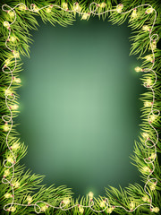 Wooden Background With Christmas Fir Tree. EPS 10 vector