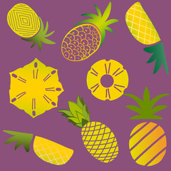 various pineapples on purple background
