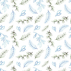 Watercolor winter seamless pattern. Pattern with winter branches. Perfect for you postcard design,invitations,projects,wedding card,poster, packaging.