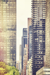 Retro stylized picture of New York buildings, USA.
