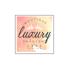 Luxury boutique fashion logo design, badge for clothes shop, beauty salon or cosmetician watercolor vector Illustration
