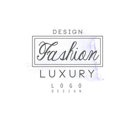 Design, fashion, luxury logo, badge for clothes boutique, beauty salon or cosmetician watercolor vector Illustration