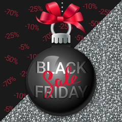 Black friday sale background. Festive ball with a red bow. Black and Silver