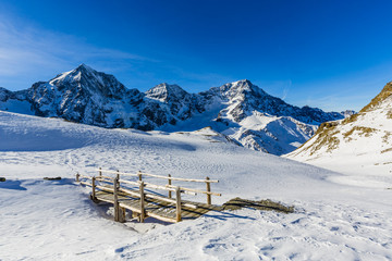 Wall Mural - Snow in winter season, mountains. South Tirol, Solda in Italy.