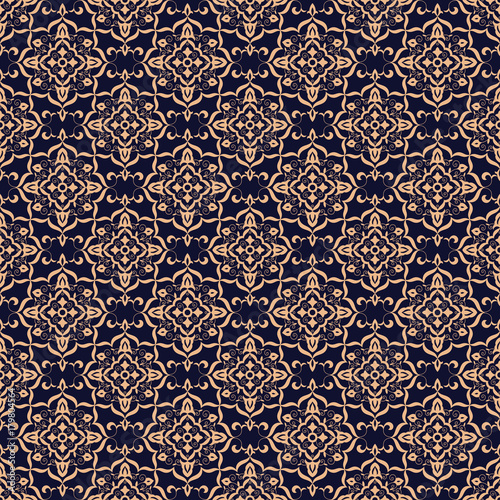 Baroque Floral Pattern Vector Seamless Indian Mandala Background Texture Vintage Flower Ornament Design For