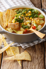 Mexican food: tortilla soup with chicken, tomatoes, avocado and corn close-up. vertical