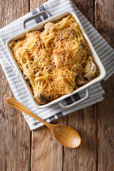 American food: tetrazzini with spaghetti, mushrooms, cheese, chicken close-up. Vertical top view
