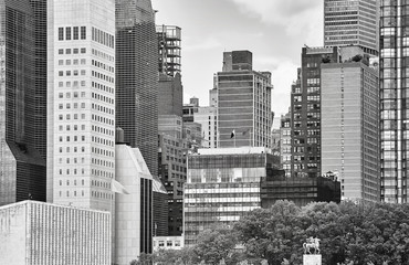 Black and white picture of downtown New York.