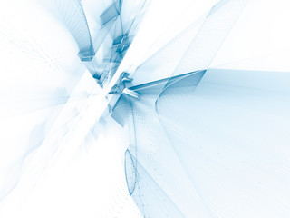 Abstract background element. Fractal graphics series. Perspective grids composition. Blue and white colors.