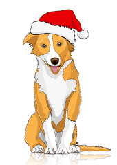 Yellow dog in the Santa Claus hat, symbol of the year 2018, vector drawing. Yellow white cartoon shaggy dog full-length isolated on white background