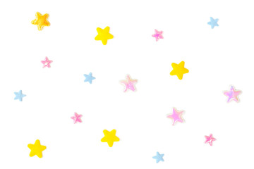 Pastel star paper cut on white background - isolated
