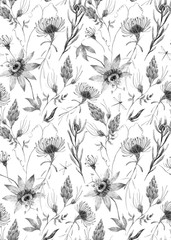 Wall Mural - Watercolor floral vector pattern