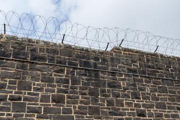 Bluestone prison walls at J Ward in Ararat, Australia