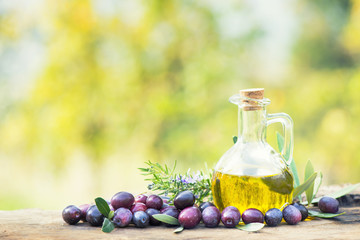 Olives and oil as wallpaper